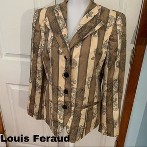 Louis Feraud Size 10 L Large Blazer top silk wool